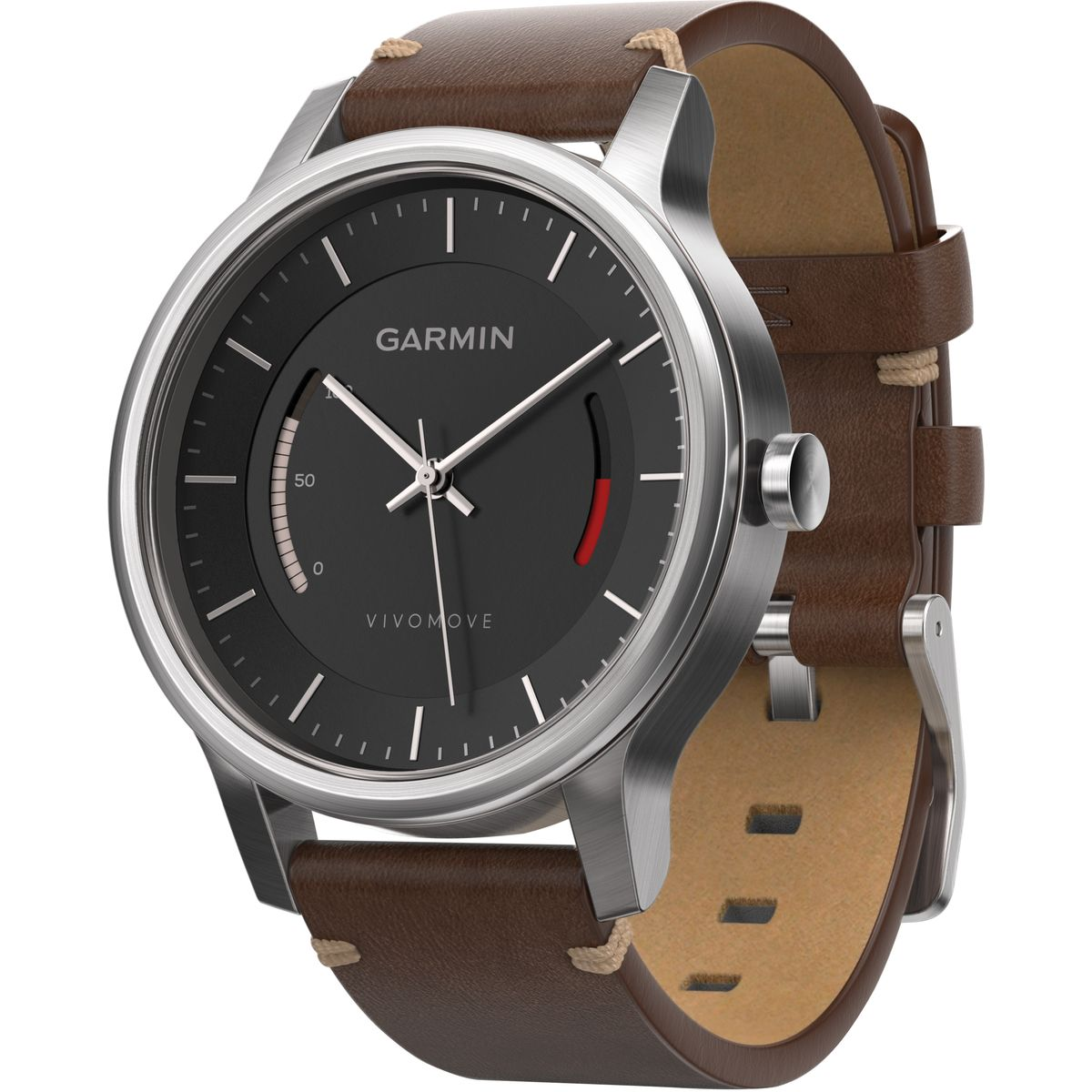 Garmin Vivomove Premium Activity Tracker Stainless Steel, LEATHER BAND