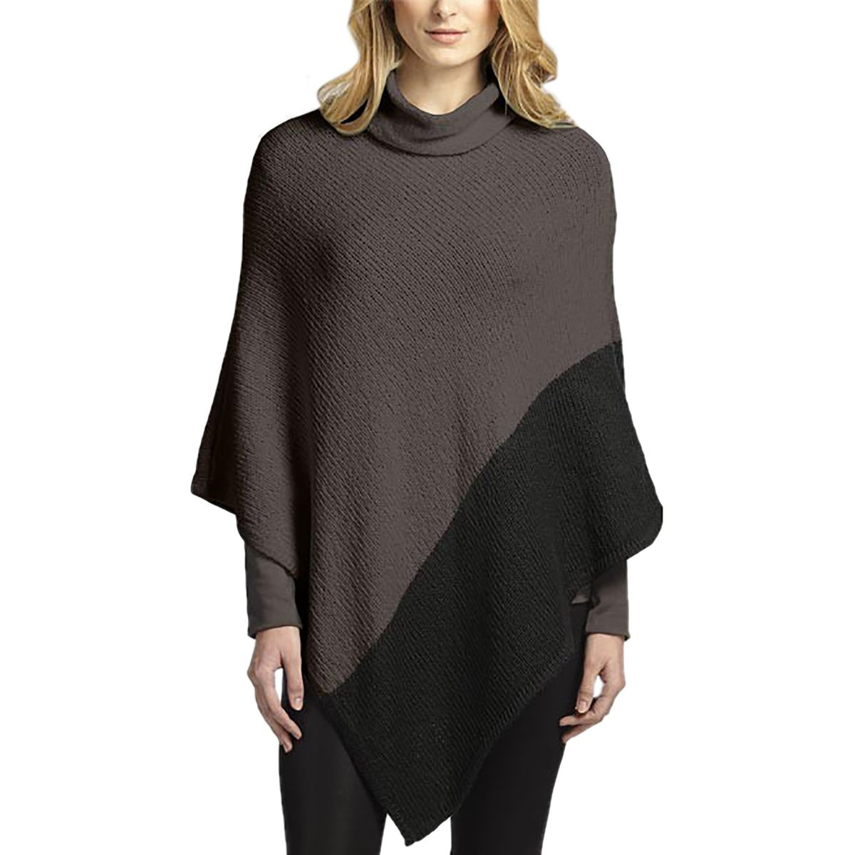 Indigenous Designs 2 Tone Poncho  Womens