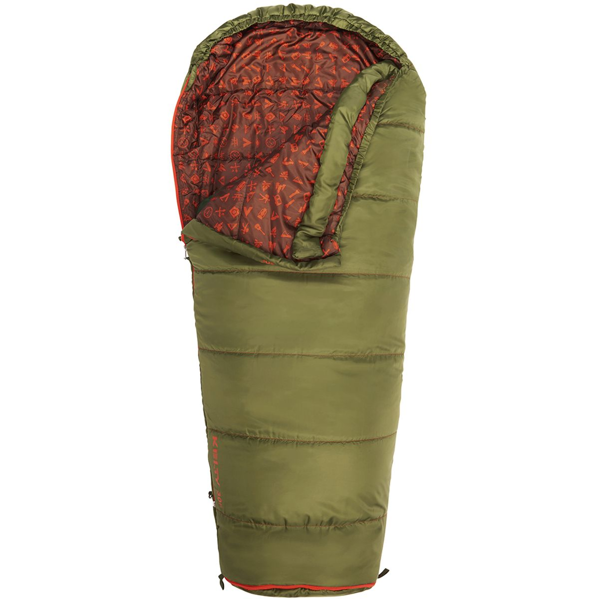Kelty Big Dipper 30 Sleeping Bag: 30 Degree Synthetic - Kids' Avocado, Short/Right Zip