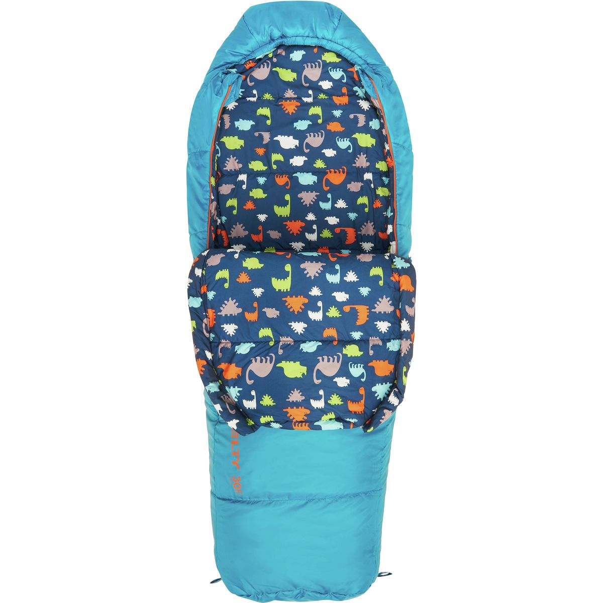 Kelty Woobie 30 Sleeping Bag: 30 Degree Synthetic - Kids' Mosaic Blue, Short/Right Zip