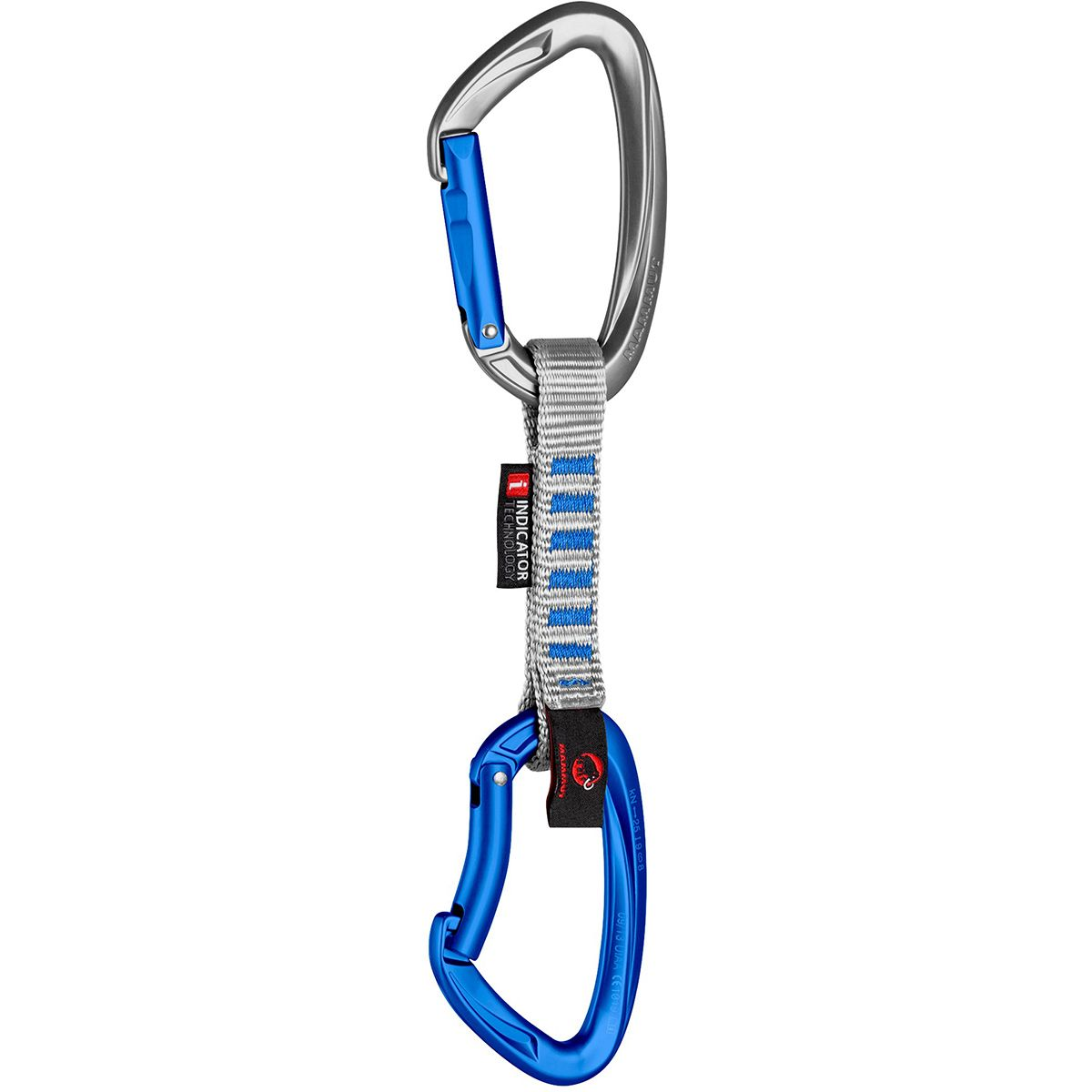 Mammut Crag Indicator Express Quickdraw Straight Gate/Bent Gate, Silver, 10cm MAM011P-STGAGASI-S10CM