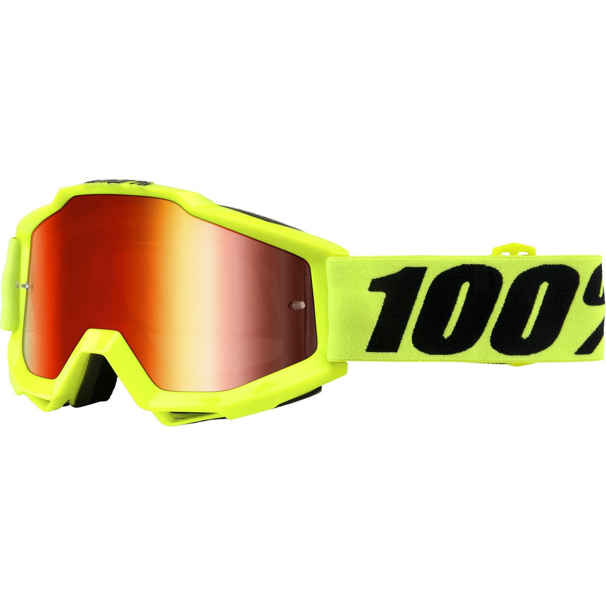 100 ACCURI Goggles Fluo Yellow Mirror Red Lens One Size