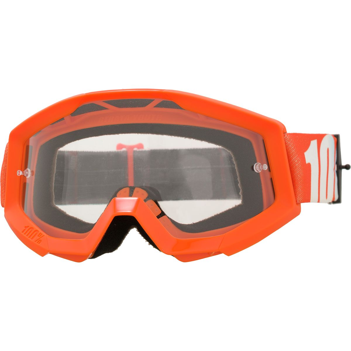 100% Strata Goggles - Kids' Goggle Orange - Clear Lens, One Size