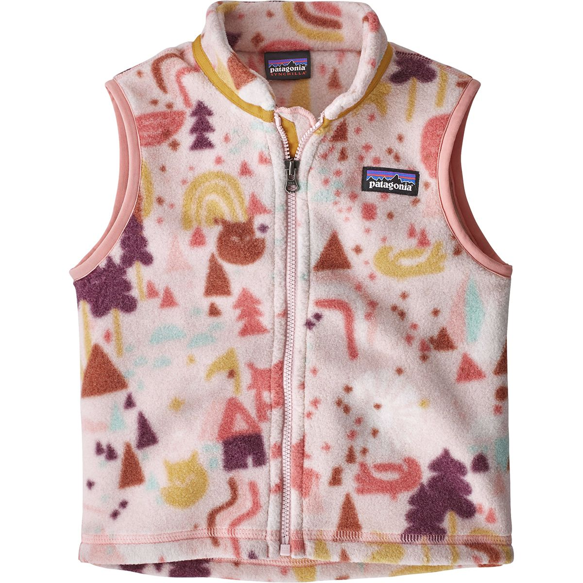 Patagonia Synchilla Vest - Toddler Girls' Block Houses One Way/Pink Opal, 2T