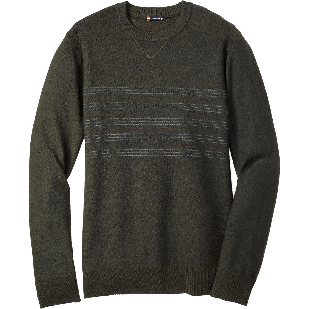 Smartwool Kiva Ridge Reverse Jersey Stripe Crew Sweater - Olive Heather
