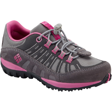 Columbia Peakfreak Enduro Hiking Shoe - Little Girls' Light Grey/Fuchsia, 9.0