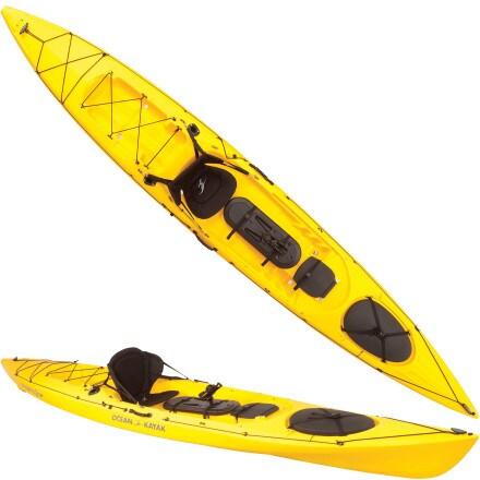 Ocean kayak trident 15 angler kayak sit on top fishing for Fishing kayak for big guys