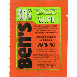 Ben's 30 Deet Tick & Insect Repellent Field Wipe - 12 Pack