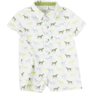 Cotton Shirting Polo Romper - Infant Boys'