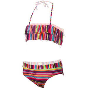 Sea Side Fringe Bandeau Swimsuit - Girls'